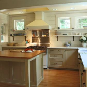 White Cabinetry With Marble Countertops